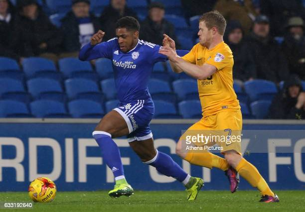 Kadeem Harris of Cardiff City is challenged by Daryl Horgan of Preston North End during the Sky Bet Championship match between Cardiff City and...