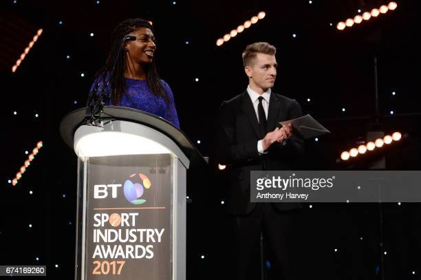 Kadeena Cox and Max Whitlock present the International Marketing Campaign of the Year award in association with SMG Insight during the BT Sport...