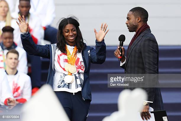 Kadeena Cox is interviewed by Ore Oduba during the Olympics Paralympics Team GB Rio 2016 Victory Parade at Trafalgar Square on October 18 2016 in...