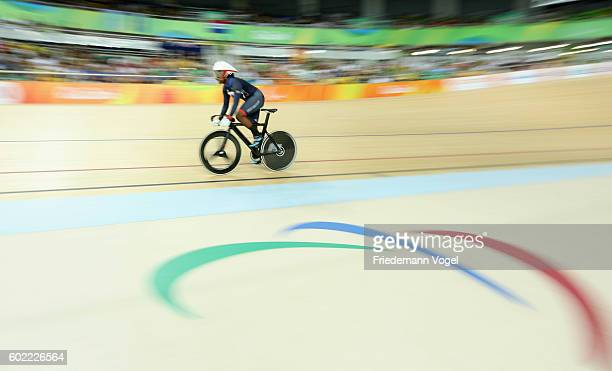Kadeena Cox of Great Britain competes in the Women's C45 500m Time Trial Track Cycling on day 3 of the Rio 2016 Paralympic Games at the Olympic...