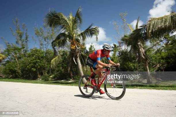 Kaden Hopkins of Bermuda competes in the Boys Individual Time Trial Final on day 2 of the 2017 Youth Commonwealth Games on July 19 2017 in Nassau...