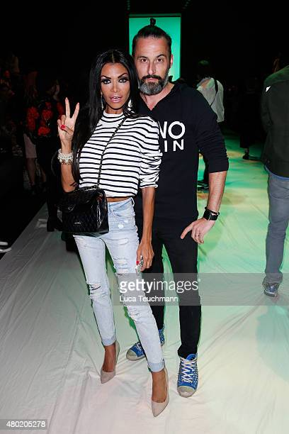 Kader Loth and Tobias Bojko attend the Emre Erdemoglu show during the MercedesBenz Fashion Week Berlin Spring/Summer 2016 at Brandenburg Gate on July...