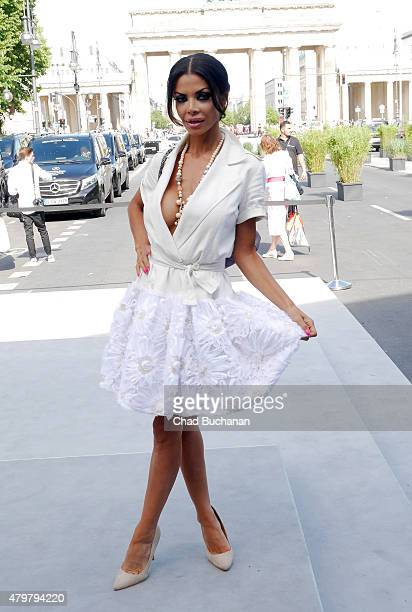 Kader Loth attends the Vektor show during the MercedesBenz Fashion Week Berlin Spring/Summer 2016 at Brandenburg Gate on July 7 2015 in Berlin Germany