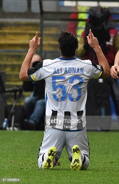 Kadhim Ali Adnan of Udinese Calcio celebrates his first goal during the Serie A match between Genoa CFC and Udinese Calcio at Stadio Luigi Ferraris...