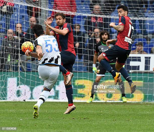 Kadhim Ali Adnan of Udinese Calcio scores his first goal during the Serie A match between Genoa CFC and Udinese Calcio at Stadio Luigi Ferraris on...