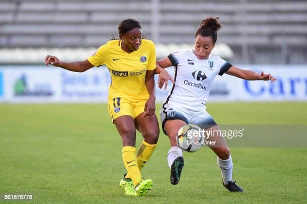 Kadidiatou Diani of PSG and Ines Jaurena of Paris FC during the women's Division 1 match between Paris FC and Paris Saint Germain on October 15 2017...