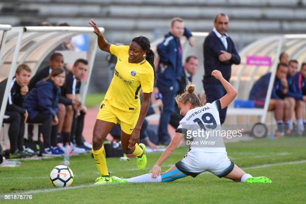 Kadidiatou Diani of PSG and Thea Greboval of Paris FC during the women's Division 1 match between Paris FC and Paris Saint Germain on October 15 2017...
