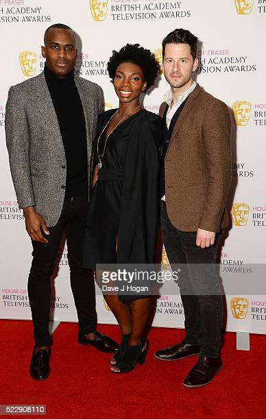 Kadiff Kirwan Michaela Coel and Robert Lonsdale attend the House of Fraser British Academy Television and Craft Nominees Party at The Mondrian Hotel...