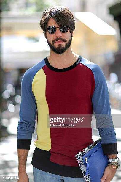 Kadu Dantas is seen after the Paul Smith show during Paris Fashion Week Menswear Spring/Summer 2017 on June 26 2016 in Paris France