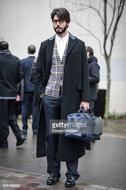 Kadu Dantas wearing a Dior full outfit after the Dior show during Paris Fashion Week Menswear Fall Winter 2016/2017 on January 23 2016 in Paris France
