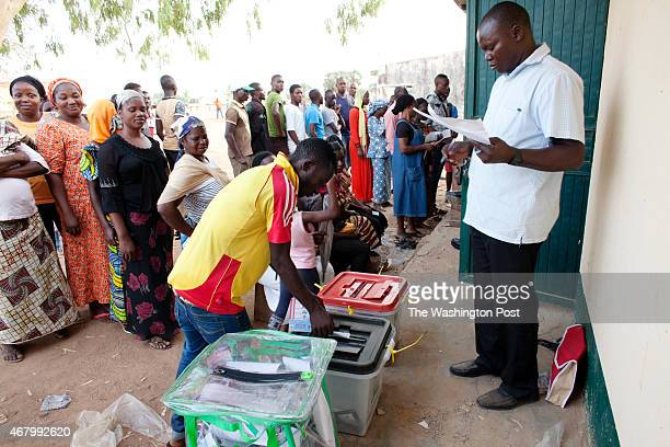 A man casts his vote at a polling station in Kaduna Nigeria on Saturday March 28 2015
