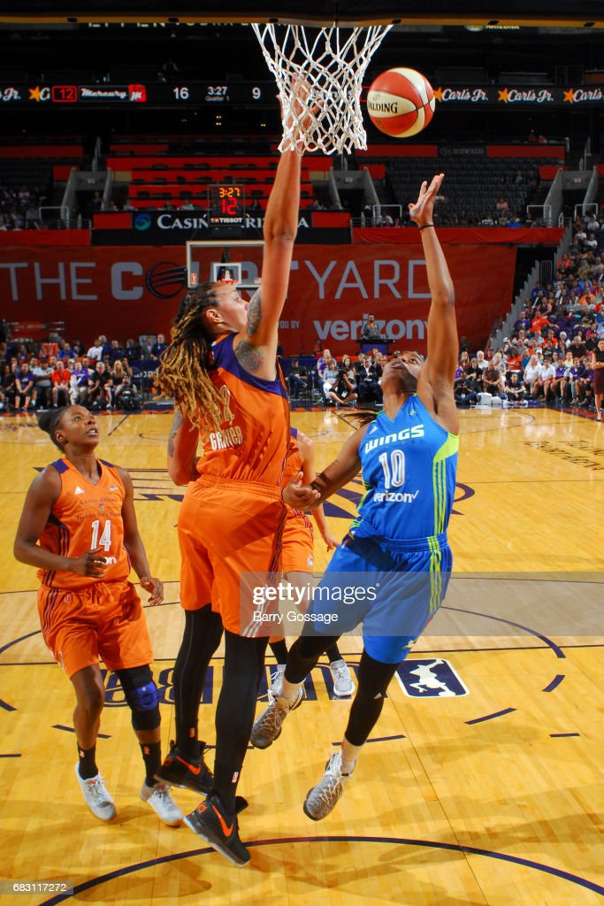 Kaela Davis #10 of the Dallas Wings shoots the ball against the Phoenix Mercury on May 14, 2017 at Talking Stick Resort Arena in Phoenix, Arizona.