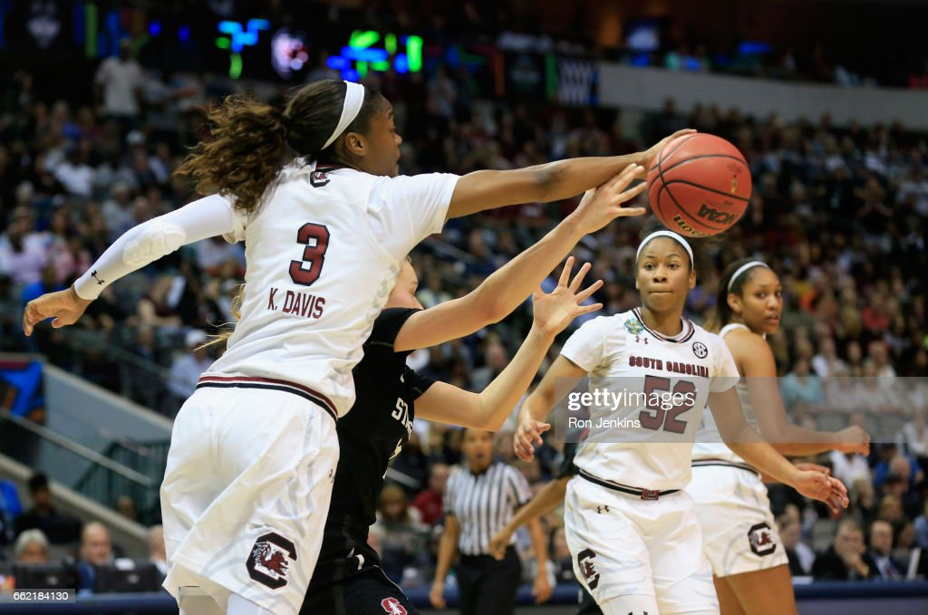 Kaela Davis #3 of the South Carolina Gamecocks steals the ball against Brittany McPhee #12 of the Stanford Cardinal in the second half during the semifinal round of the 2017 NCAA Women's Final Four at American Airlines Center on March 31, 2017 in Dallas, Texas. The South Carolina Gamecocks won 62-53.