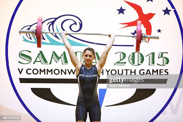 Kaeley Elkington of New Zealand competes in the Women 63kg 69kg Weightlifting at the Tuanaimato Sports Facility on day three of the Samoa 2015...