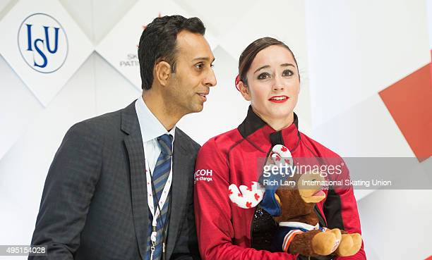 Kaetlyn Osmond of Canada and her coach Ravi Walia after the Ladies Free Skate on day two of Skate Canada International ISU Grand Prix of Figure...