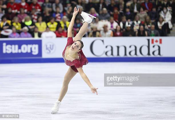 Kaetlyn Osmond of Canada competes in the Women's Singles Free Program during day two of the 2016 Skate Canada International at Hershey Centre on...