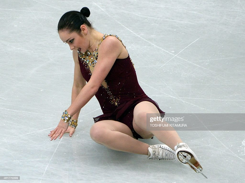Kaetlyn Osmond of Canada falls on the ice during her free skating in the women's singles at the world figure skating championships in Saitama on March 29, 2014.