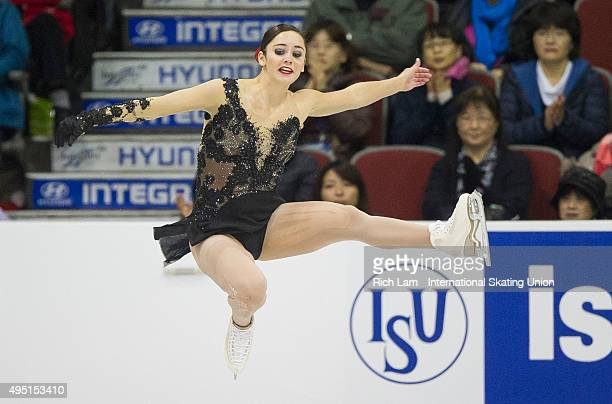 Kaetlyn Osmond of Canada jumps while competing in the Ladies Free Skate on day two of Skate Canada International ISU Grand Prix of Figure Skating...