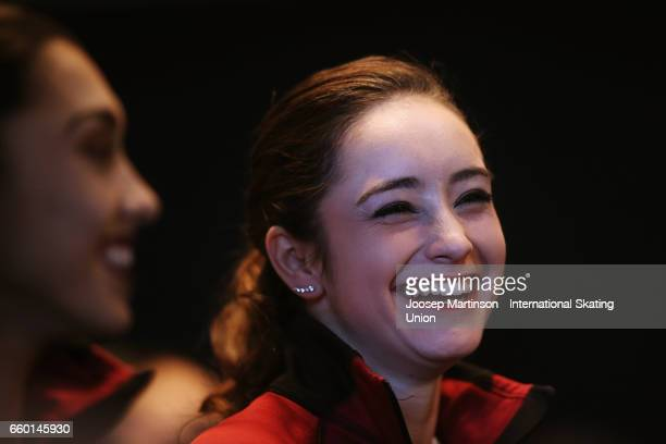 Kaetlyn Osmond of Canada shares a laugh with Gabrielle Daleman of Canada in the Ladies Short Program press conference during day one of the World...