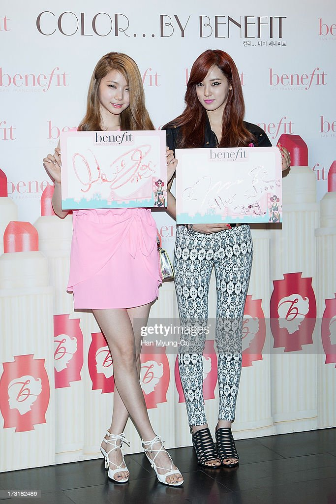 Kaeun and Juyeon of South Korean girl group After School attend the Benefit 'Hydra-Smooth Lip Color' launching party at JNB Gallery on July 9, 2013 in Seoul, South Korea.
