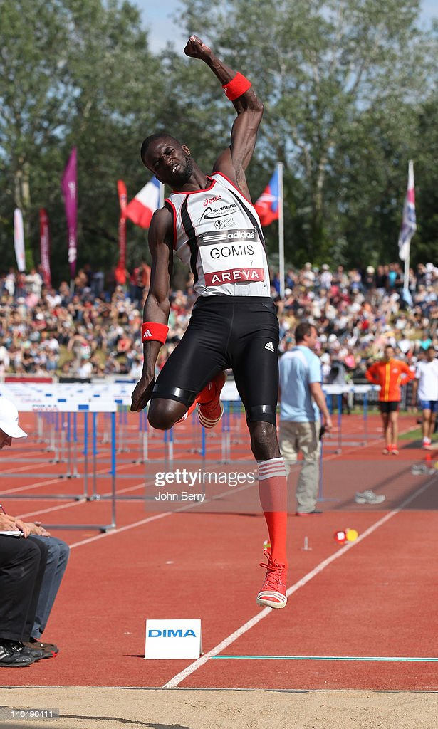 <a gi-track='captionPersonalityLinkClicked' href=/galleries/search?phrase=Kafetien+Gomis&family=editorial&specificpeople=1379319 ng-click='$event.stopPropagation()'>Kafetien Gomis</a> of France competes in the long jump final during the 2012 French Elite Athletics Championships at the Stade du Lac de Maine on June 17, 2012 in Angers, France.