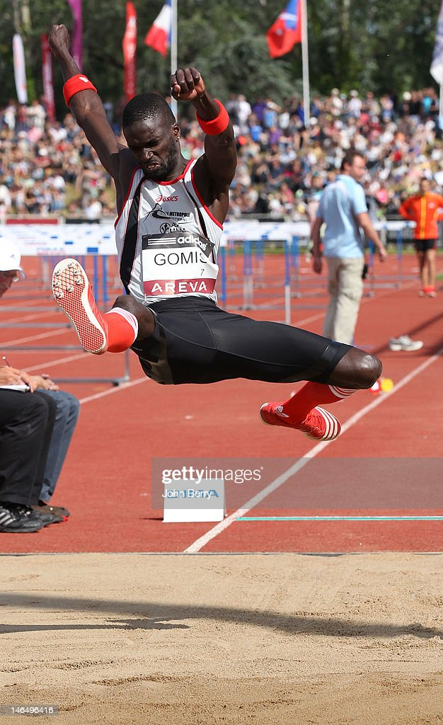 Kafetien Gomis of France competes in the long jump final during the 2012 French Elite Athletics Championships at the Stade du Lac de Maine on June 17, 2012 in Angers, France.