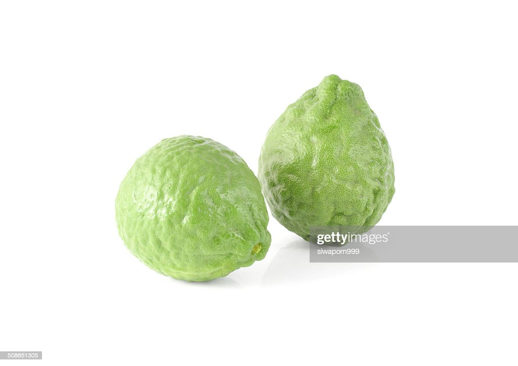 Kaffir Lime isolated on white background with clipping path : Stock Photo