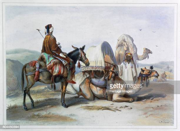 Kafila with a camel bearing a hodesh 1848 Illustration from The Valley of the Nile by Emile Prisse d'Avennes Artist Lehnert
