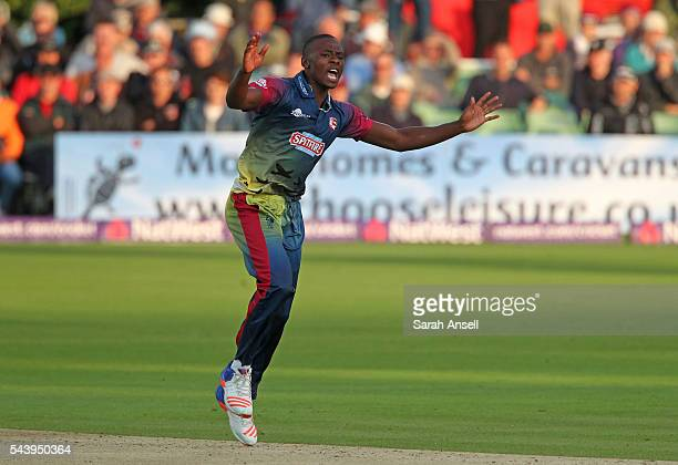 Kagiso Rabada of Kent celebrates after bowling Chris Nash of Sussex in his first over during the NatWest T20 Blast match between Kent and Sussex at...