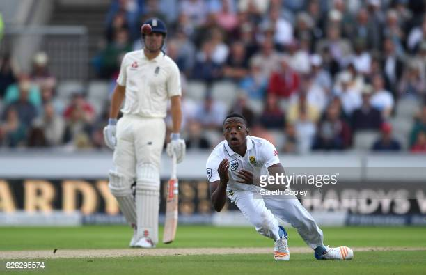 Kagiso Rabada of South Africa attempts to catch out Keaton Jennings of England during day one of the 4th Investec Test between England and South...