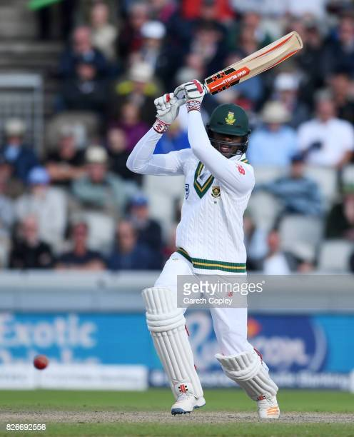 Kagiso Rabada of South Africa bats during day two of the 4th Investec Test between England and South Africa at Old Trafford on August 5 2017 in...
