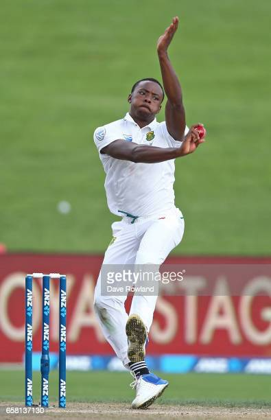 Kagiso Rabada of South Africa bowls during day three of the Test match between New Zealand and South Africa at Seddon Park on March 27 2017 in...
