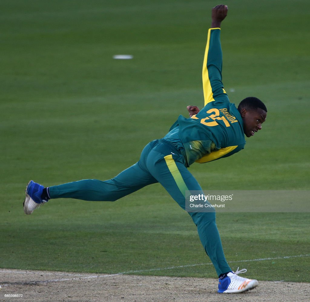 Kagiso Rabada of South Africa bowls during the Tour Match between Sussex and South Africa at The 1st Central County Ground on May 19, 2017 in Hove, England.
