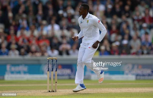 Kagiso Rabada of South Africa celebrates after dismissing Moeen Ali of England on the second day of the 4th Investec Test match between England and...