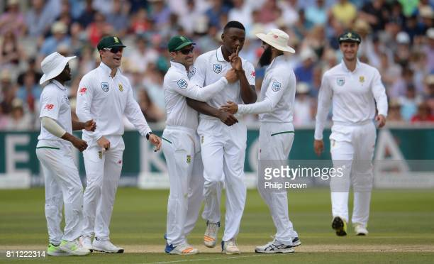 Kagiso Rabada of South Africa celebrates after the dismissal of Ben Stokes of England during day four of the 1st Investec Test match between England...