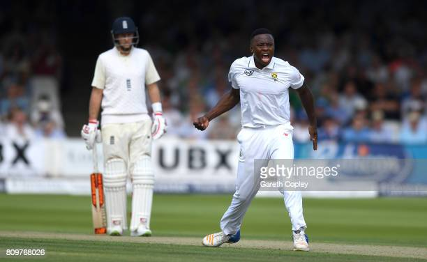 Kagiso Rabada of South Africa celebrates dismissing Ben Stokes of England during day one of 1st Investec Test match between England and South Africa...