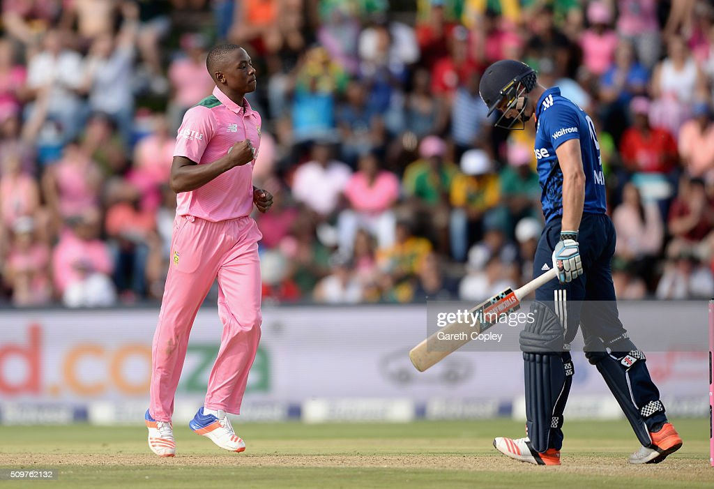 Kagiso Rabada of South Africa celebrates dismissing Chris Woakes of England during the 4th Momentum ODI between South Africa and England at Bidvest Wanderers Stadium on February 12, 2016 in Johannesburg, South Africa.