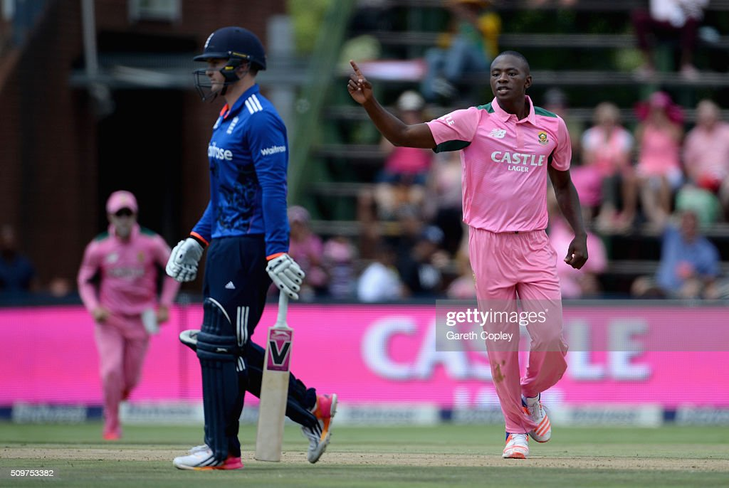 Kagiso Rabada of South Africa celebrates dismissing <a gi-track='captionPersonalityLinkClicked' href=/galleries/search?phrase=Jason+Roy+-+Cricketspieler&family=editorial&specificpeople=13892033 ng-click='$event.stopPropagation()'>Jason Roy</a> of England during the 4th Momentum ODI between South Africa and England at Bidvest Wanderers Stadium on February 12, 2016 in Johannesburg, South Africa.