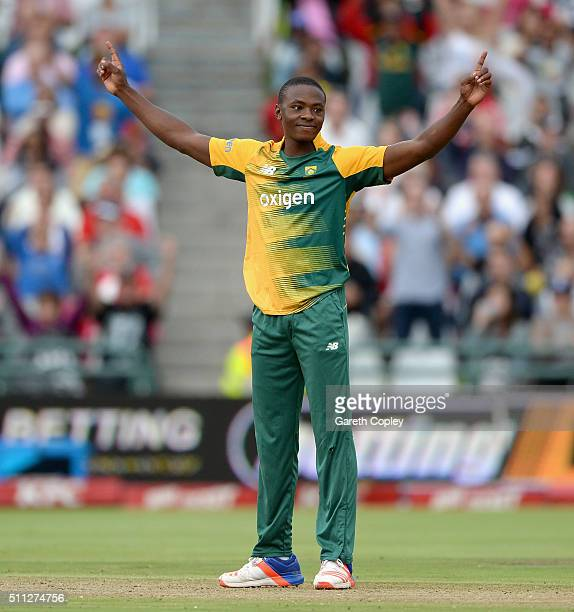 Kagiso Rabada of South Africa celebrates dismissing Jason Roy of England during the 1st KFC T20 International match between South Africa and England...