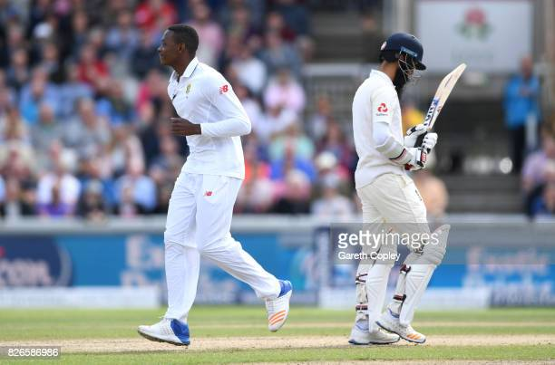 Kagiso Rabada of South Africa celebrates dismissing Moeen Ali of England during day two of the 4th Investec Test between England and South Africa at...