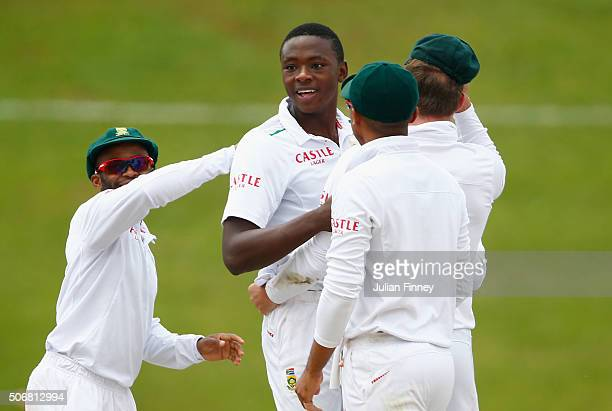 Kagiso Rabada of South Africa celebrates taking the wicket of Jonny Bairstow of England during day five of the 4th Test at Supersport Park on January...