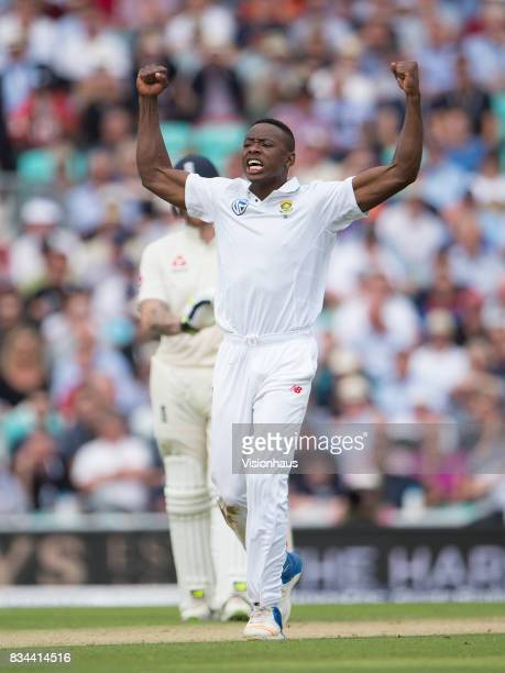 Kagiso Rabada of South Africa celebrates taking the wicket of Stuart Broad during day two of the 3rd Investec test between England and South Africa...