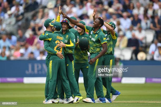 Kagiso Rabada of South Africa celebrates with team mates after dismissing Adil Rashid of during the 3rd Royal London ODI between England and South...