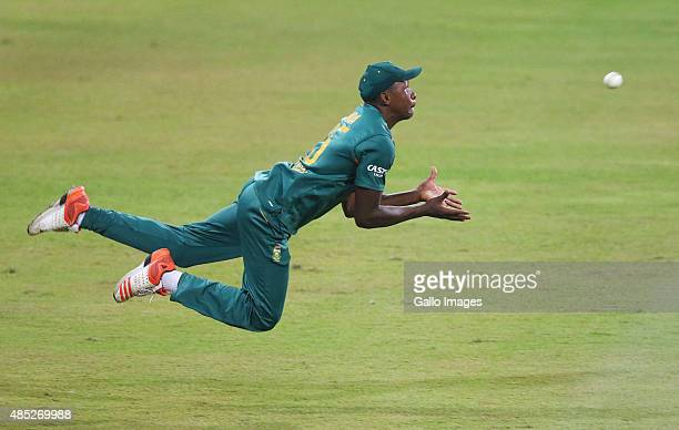 Kagiso Rabada of South Africa goes in for a catch during the 3rd ODI match between South Africa and New Zealand at Sahara Stadium Kingsmead on August...