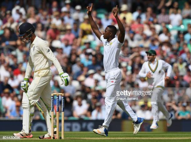 Kagiso Rabada of South Africa takes the wicket of Keaton Jennings of England during day four of the 3rd Investec Test match between England and South...