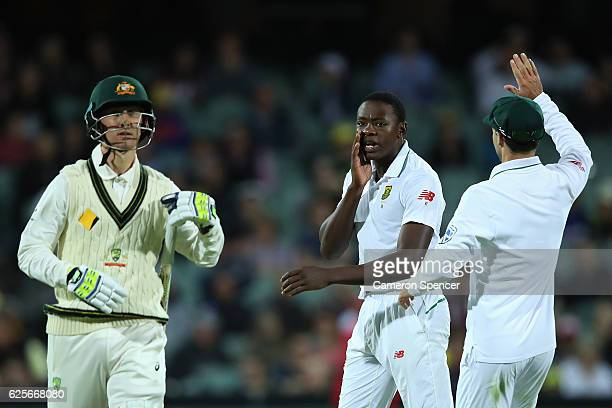 Kagiso Rabada of South Africa talks to Nic Maddinson of Australia after dismissing him for a duck during day two of the Third Test match between...