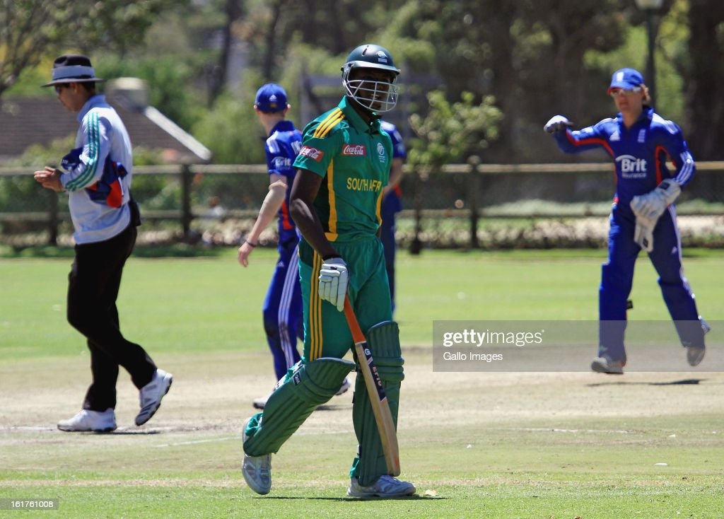 Kagiso Rabada of South Africa walks off after being dismissed during the 2nd U/19 Youth One Day International match between South Africa and England at Bellville Cricket Club on February 15, 2013 in Cape Town, South Africa.