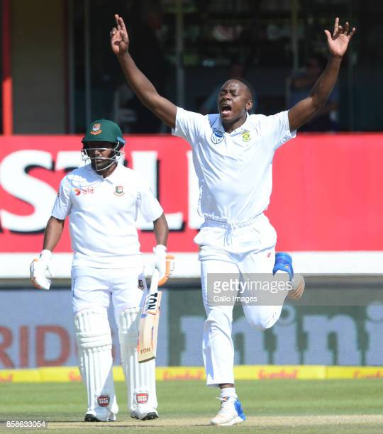 Kagiso Rabada of the Proteas celebrates the wicket of Soumya Sarkar of Bangladesh during day 2 of the 2nd Sunfoil Test match between South Africa and...