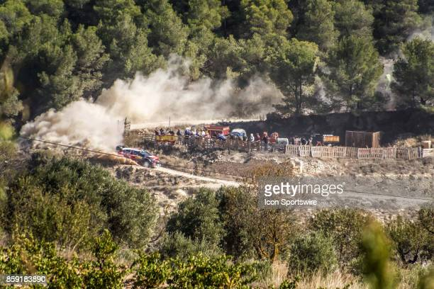 Kahlid Al Qassimi and codriver Chris Patterson of Citroën World Rally Team compete during the Terra Alta Stage of the Rally de Espana round of the...