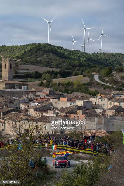 Kahlid Al Qassimi and codriver Chris Patterson of Citroën World Rally Team pass thru the village of Conesa during the Savalla Stage of the Rally de...